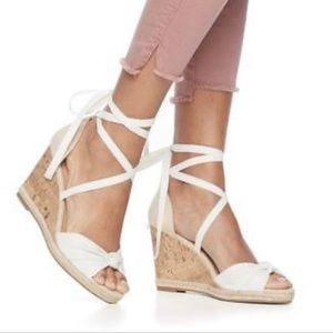 Apt 9 Cheery lace up wedge espadrilles, white, 9